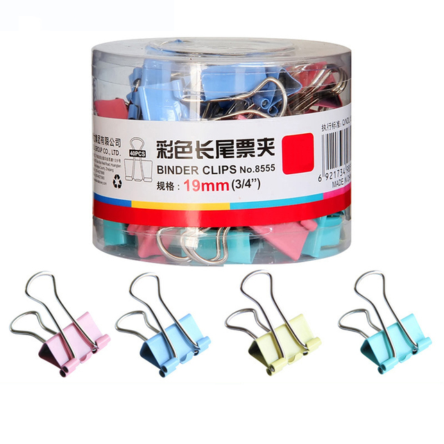 40pcs/lot 19mm Colorful Metal Binder Clips Paper Clip Office Stationery Binding Supplies