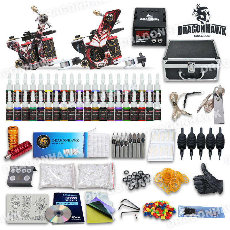 Complete Tattoo Kit 2 Machine Gun Set Equipment Power Supply 40 Color Ink with case 10-24GD-3 hot tattoo kit full set accessary tattoo kit machine gun power supply needles grip tip ink