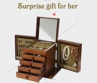 Free ship LUXURY Jewelry box wood Storage case Jewel organizer display Jewelry Packaging Box Casket Box for girls birthday gift