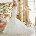 Mermaid Wedding Dress 2017 V Neck Appliques Sexy Lace Court Train White Bridal Gown Free Shipping vestido de noiva de renda