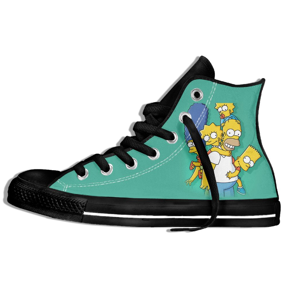 Classic Cartoon Character Lisa Marie <font><b>Simpson</b></font> High Top Lace-up Flat Canvas <font><b>Shoes</b></font> Light Sneaker