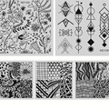 5 Pcs/Set Nail Art Stamping Template Stainless Steel Square Plates Flower Design Manicure Nail Art Stamp Image Plate ND106-110