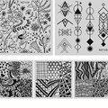 5 Unids/set Nail Art Stamping Plantilla Placas Cuadradas de Acero Inoxidable Diseño de La Flor Manicura Nail Art Sello de Imagen Plate ND106-110