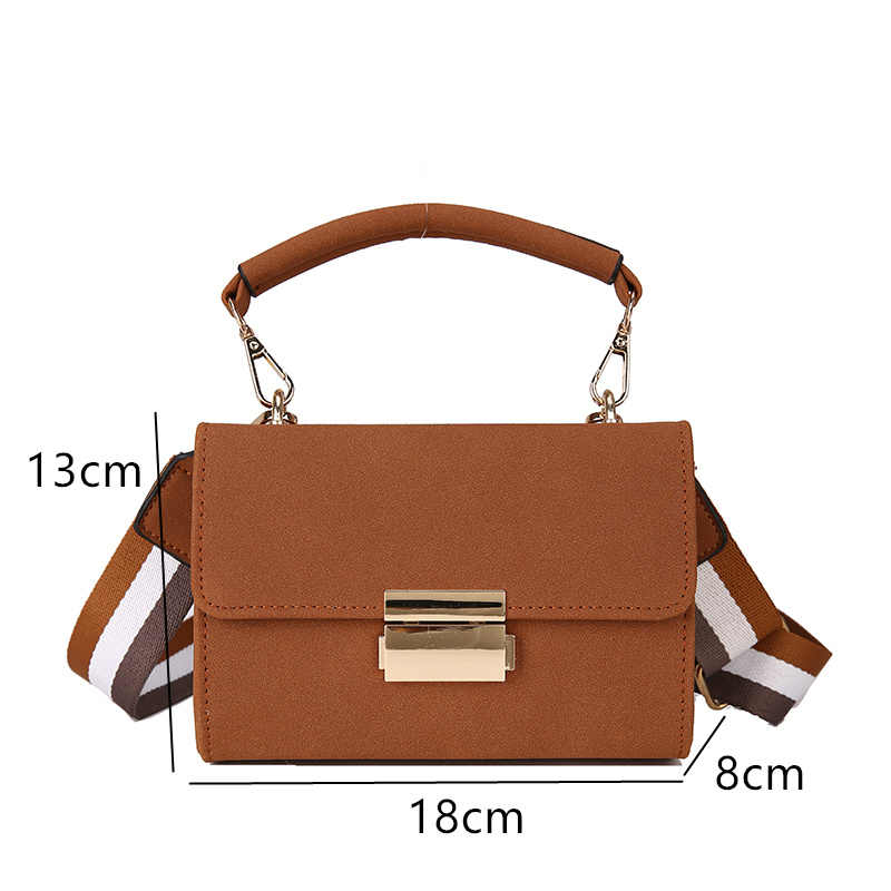 d4ecf148c4b5 ... New 2019 Trend Messenger Bag for Woman Wide Strap Matte Leather Shoulder  Bag Stylish Handbags Gold