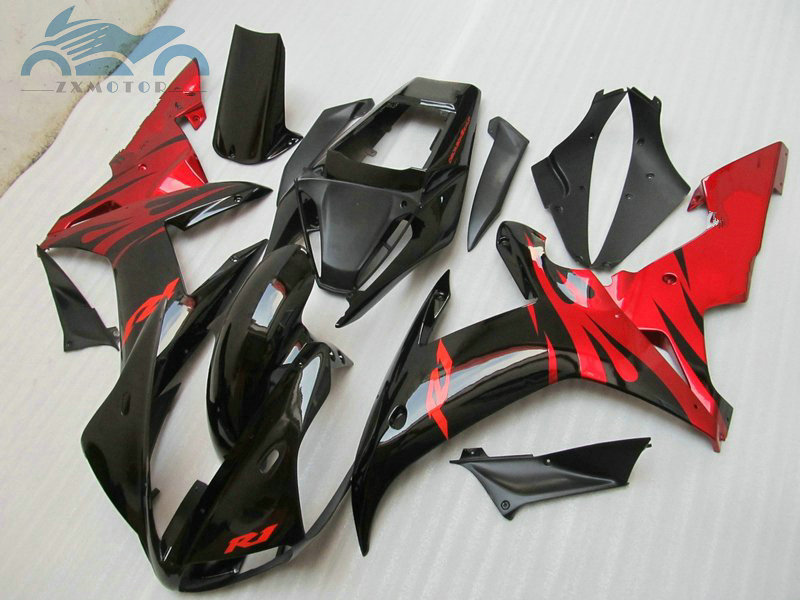 Free New motorcycle <font><b>fairing</b></font> Kits fit for <font><b>YAMAHA</b></font> 2002 <font><b>2003</b></font> YZFR1 02 03 YZF <font><b>R1</b></font> sports <font><b>fairings</b></font> black red body parts RG36 image