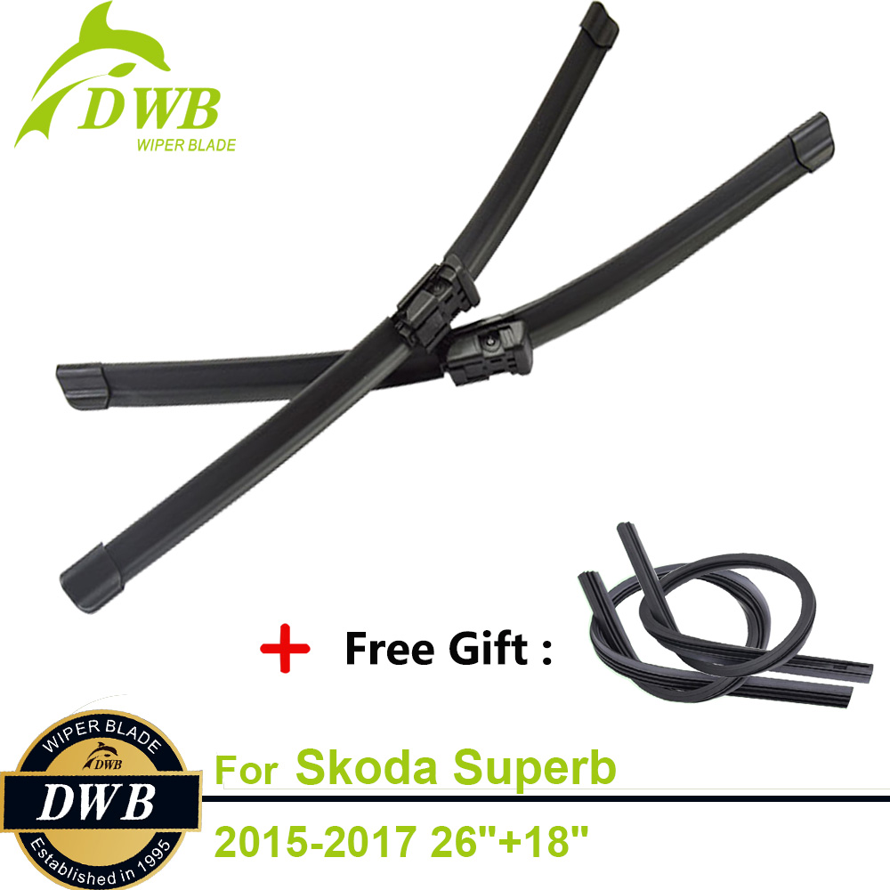 2PCS ECO Wiper Blades for Skoda Superb 2015-2017 26+18, Free 2Pcs Rubbers, New Windshield Wipers