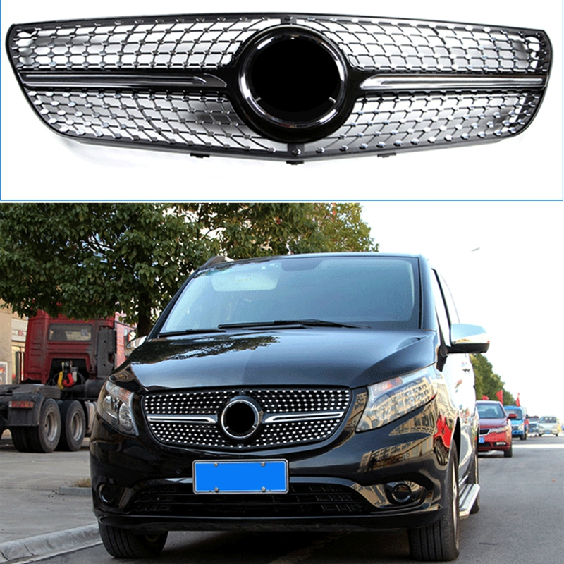 Car Styling Tuning Front Middle Star Diamonds style Grille Grill For Mercedes Benz Vito V260 class MPV W447 Vehicle 2015 2018