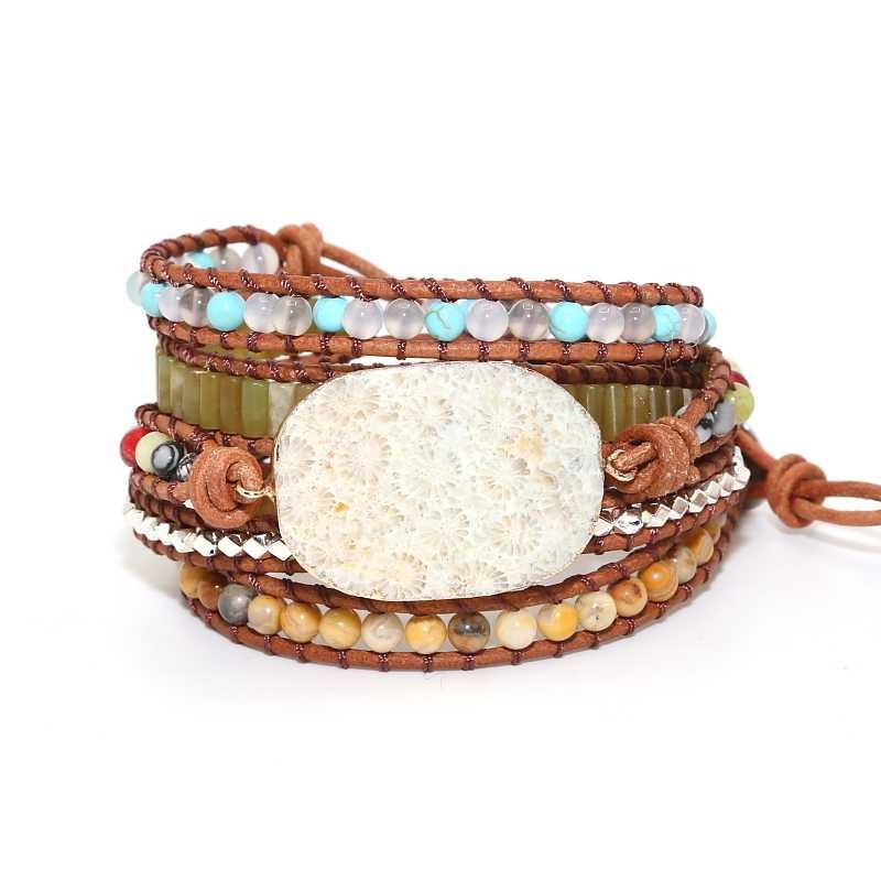 b5dc2a995594 Regalo de la joyería de cuero Vintage pulseras piedras naturales crisantemo  Piedras Encanto 5 hilos pulseras