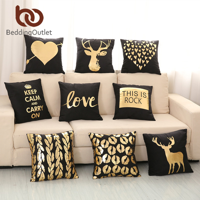 BeddingOutlet Bronzing Cushion Cover Gold Printed Black And White Unique Black And Gold Decorative Pillows