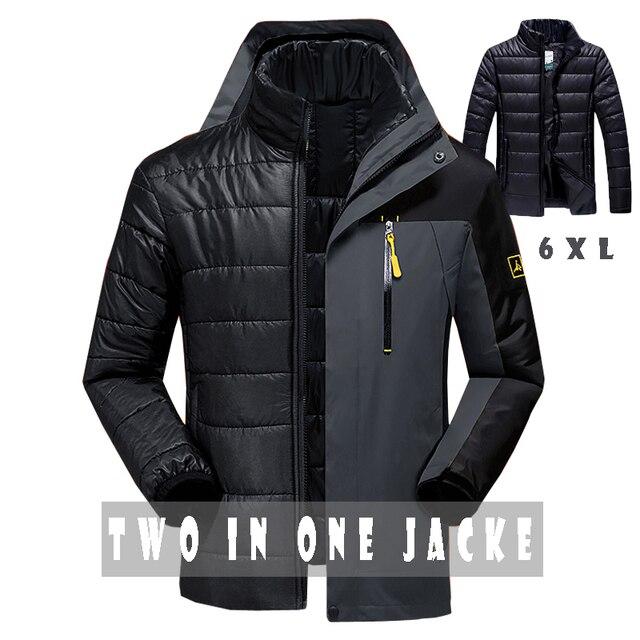 Chaqueta de invierno los hombres de moda dos en uno outwear espesar caliente abajo la capa de las mujeres Patchwork soft capucha impermeable chaqueta de los hombres de tamaño M ~ 6XL