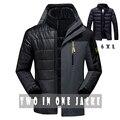 Homens jaqueta de inverno moda dois em um outwear engrossar quente para baixo casaco de Retalhos das mulheres macio capa à prova d' água homens jaqueta tamanho M ~ 6XL