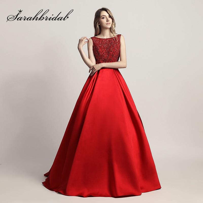 Eleganta Röda Ärmlös Aftonklänningar med Beading Sequined Bodice - Särskilda tillfällen klänningar