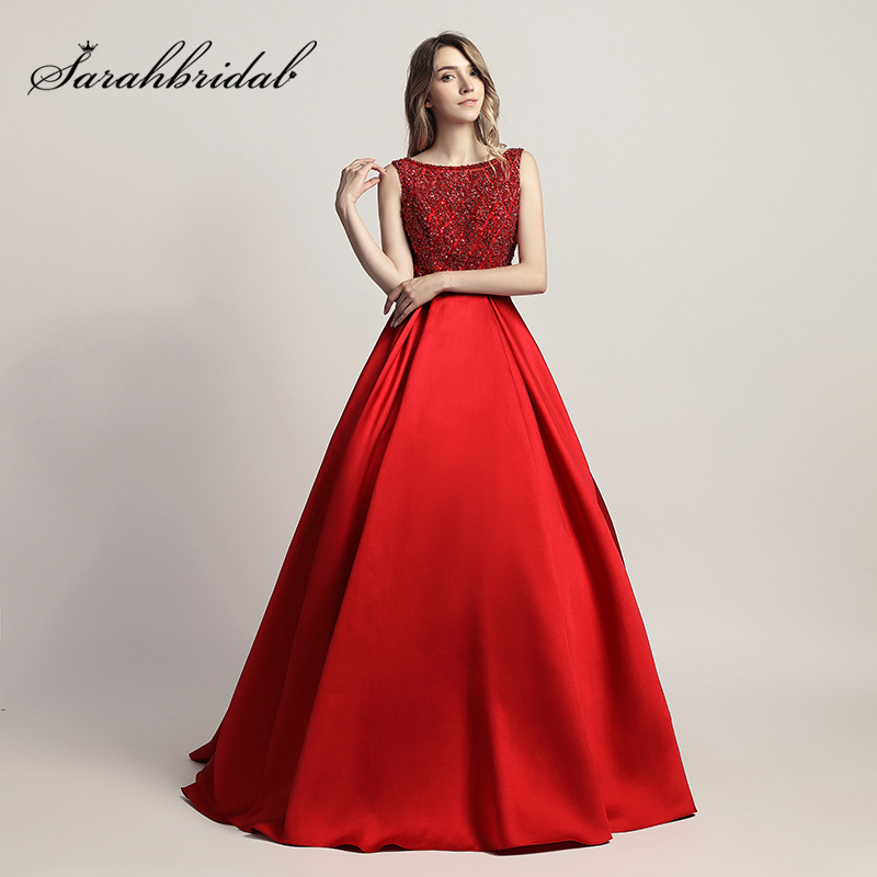 Elegant Red Sleeveless   Evening     Dresses   with Beading Sequined Bodice Long Prom   Dress   V Back Zipper Important Party Gowns OL443