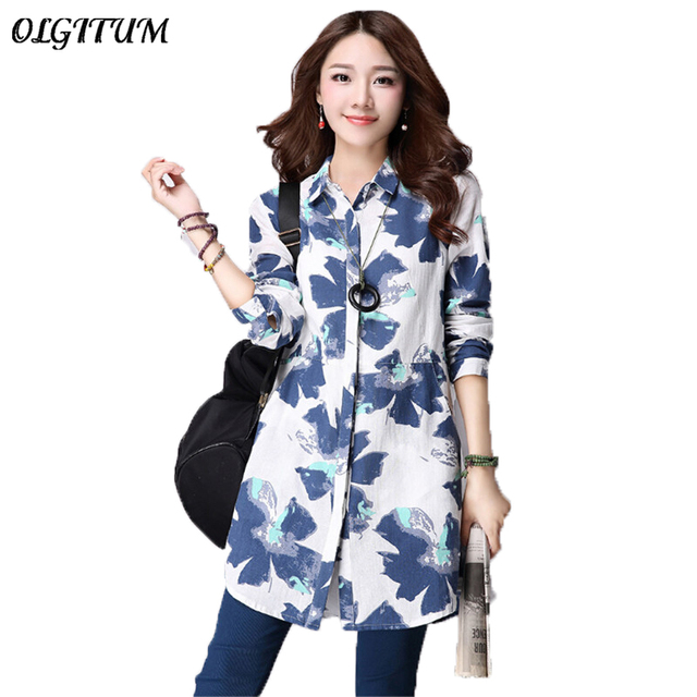 d98098cff 2019 Spring new Korean art loose Ladies Shirt cotton and linen printing  shirt long shirt oversize women's clothing Blouse