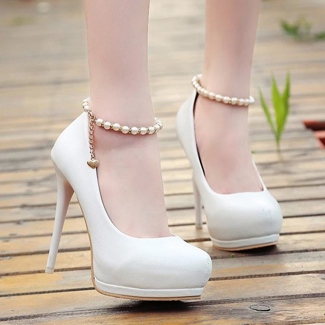 2016 NEW Spring Autumn PU Leather  Round toe Pearl The ankle chain High thick Heels Women Pumps 3 colors