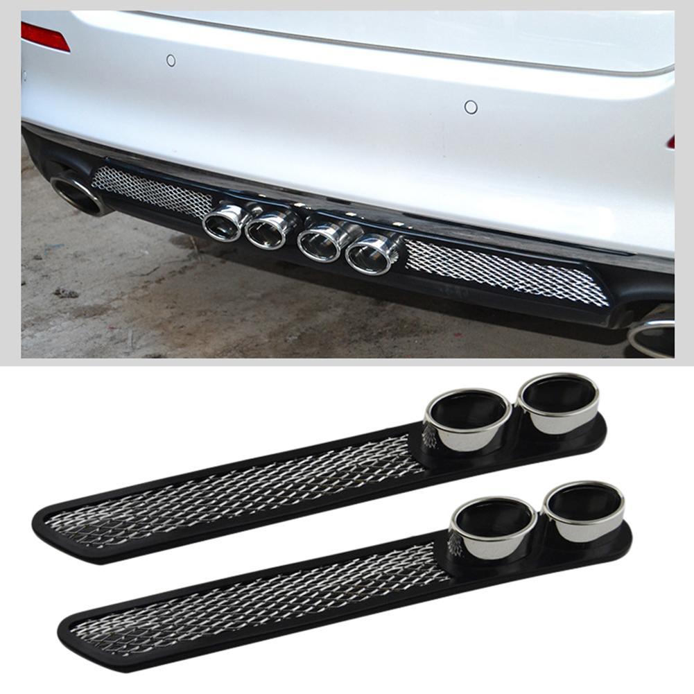 1 par universal estilo do carro auto falso decorativo ventilação grade silenciador tubo de escape fita adesiva