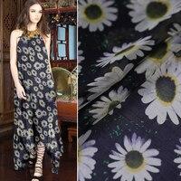 Ayçiçeği dijital boyama şifon ipek kumaş yaz elbise vestidos vestido artı patchwork tissu için au metre tecido tissus