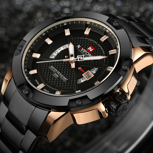 Relojes Para Hombre de NAVIFORCE, marca de lujo, reloj de cuarzo de acero completo para hombre, reloj de pulsera militar deportivo a prueba de agua analógico
