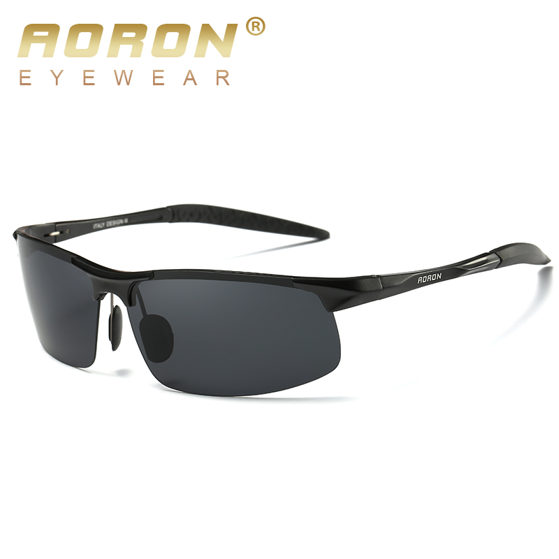 AORON Driving Polaroid Sun Glasses Aluminum Frame Sports Sunglasses Men Polarized Driver Retro UV400 Anti-glare Goggles 2