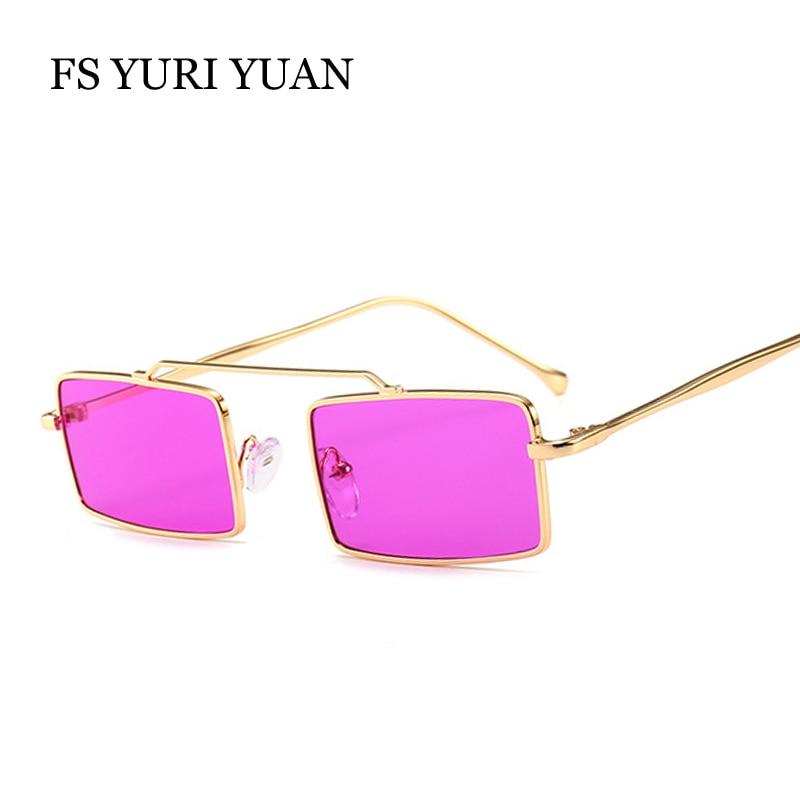 FS YURI YUAN Small Size Rectangle Frame Women Sunglasses Retro Metal Men Glasses Brand Designer Female Green Purple Sun Glasses