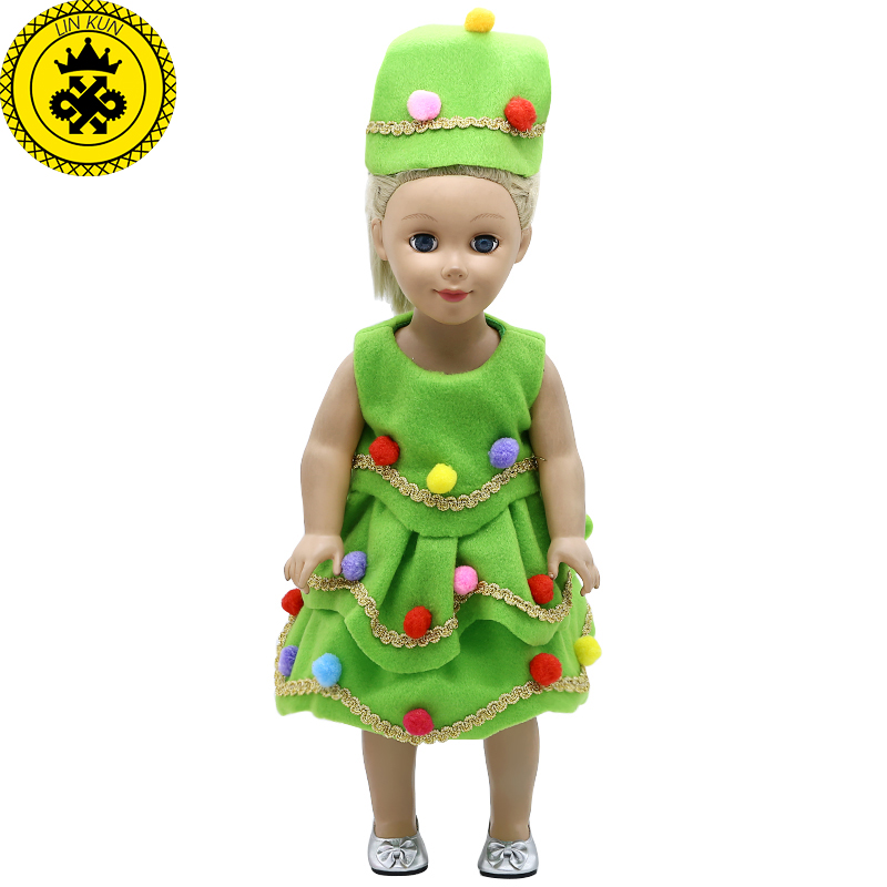 American Girl Doll Clothes Green Christmas Costume Dress + Christmas hat fit 18 inch American Girl Doll Accessories 578 [mmmaww] christmas costume clothes for 18 45cm american girl doll santa sets with hat for alexander doll baby girl gift toy
