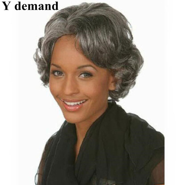 Short silver gray wavy Wigs Heat Resistant synthetic hairstyles ...