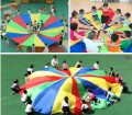 3m 118inch Child Kid Sports Development Outdoor Rainbow Umbrella Parachute Toy Jump-sack Ballute Play Parachute 8 Bracelet