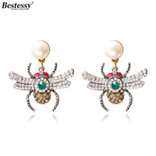 Bestessy Earrings Personality Exaggerated 2 Colors Crystal Alloy Chic Cute Bee Earrings Fashion Jewelry Animal Earrings personality exaggerated fashionable with diamond crystal earrings