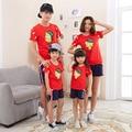 Оптовая летний Корейский Семья установлены лето 2017 с коротким рукавом футболка соответствия мать дочь одежда Пары clothing