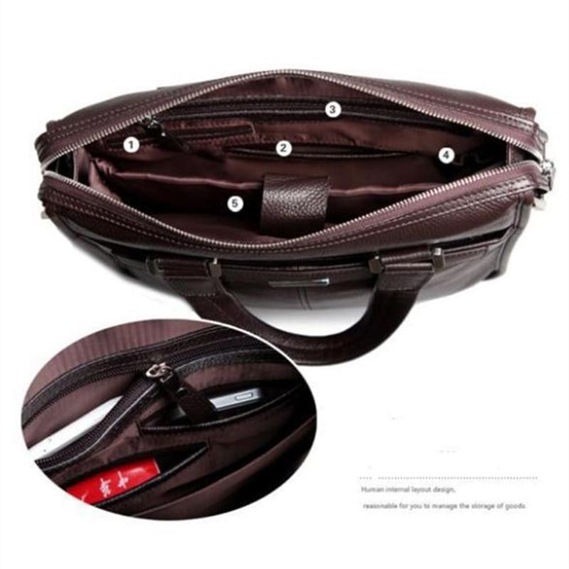 Ny P.kuone mærke mænd taske håndtaske ægte læder taske cowhide - Håndtasker - Foto 4