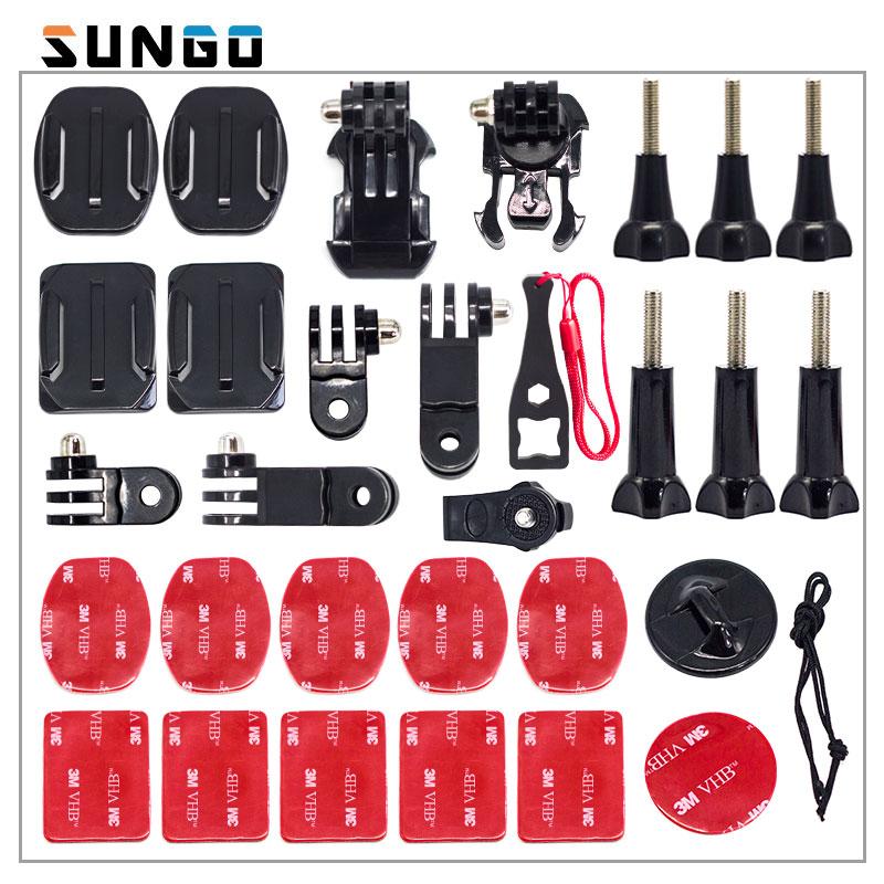 SUNGO A Tre Vie Regolabile Casco Morsetto Montaggio Braccio Perno Extension per GoPro Hero6 5 4 3 Xiaomi Yi 4 K SJCAM SJ4000 SJ5000 Go Pro