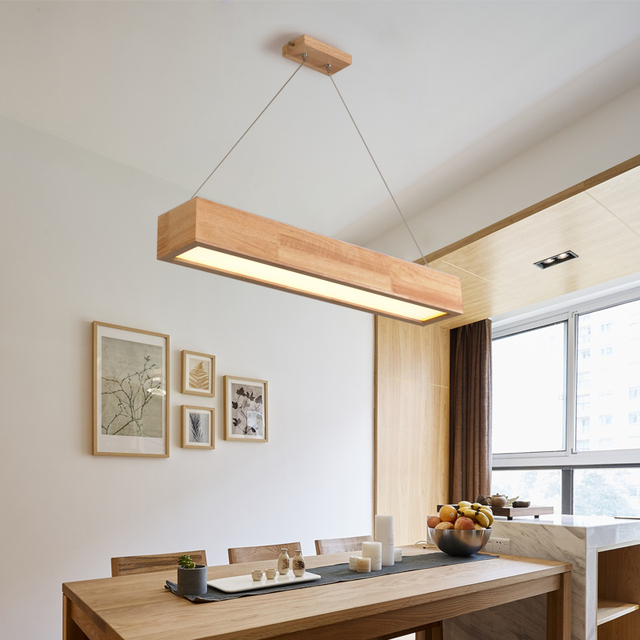 Beau A1 Nordic Pendant Lights Solid Wood Lamp Bar Simple LED Wood NEW Restaurant  Lamp Office Pendant