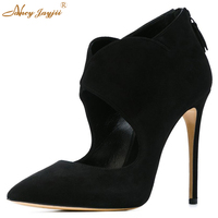 2017 Nancyjayjii Sexy Women Black Suede Point Toe Pumps High Heels Genuine Leather Shoes for Woman,zapatos mujer tacon sapato
