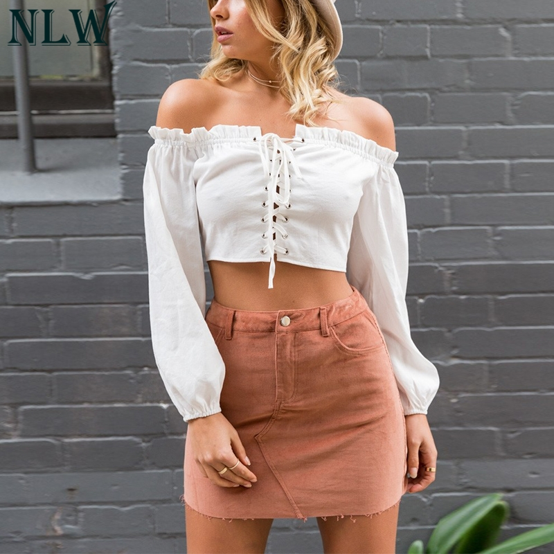 84b4f431b96 NLW Women Girl White Blouse Shirt Off Shoulder Lace Up Crop Top Long Sleeve  Backless Cute Blouse Top Summer Chic Streetwear Crop
