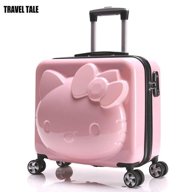432789b74aefc السفر حكاية مرحبا كيتي حمل على حقائب فتاة حقيبة سفر بعجلات 18 بوصة الأبيض  الوردي الطفل