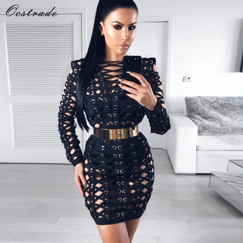 Ocstrade Black Bodycon Dress for Women 2018 New Sexy Fashion Metal Pieces Lattice Cross Over Vestidos Bandange Dress Long Sleeve
