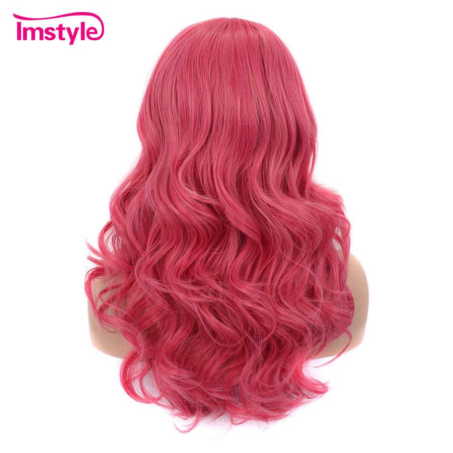 Imstyle Розовый Синий Зеленый Фиолетовый синтетические волосы парики с челкой волнистые парики для женщин термостойкие волокна парик для костюмированной вечеринки