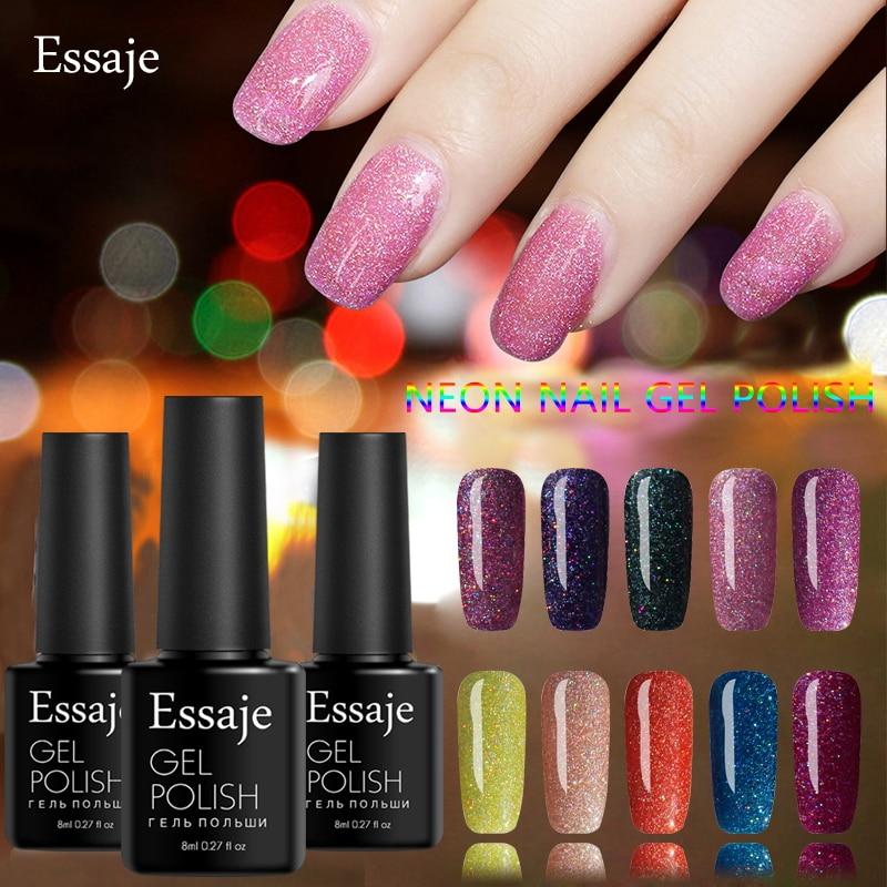 Essaje Soak Off Bling Neon Color Gel UV LED Base Top Coat