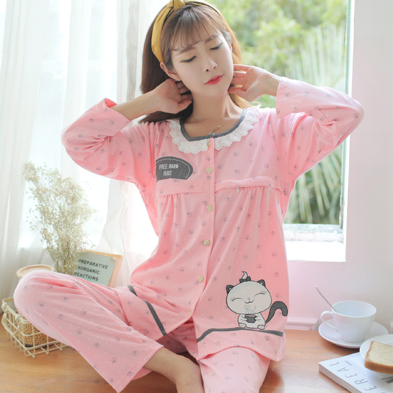Dollplus Maternity Nursing Pajamas Set Cartoon Print Cotton Breastfeeding Sleepwear Women Pregnancy Nightwear Pajamas Set