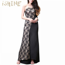 iSHINE Women Elegant Patchwork Lace Sexy Side Sleeves Party Dress Casual bridesmaid  Mother of Bride Maxi 0dd4bc477b6a