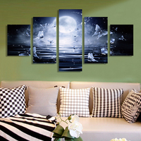 Modern Decor Poster And Prints 5 Piece Sets Night Seascape Butterfly Painting On Canvas Home Wall Art Pictures For Living Room