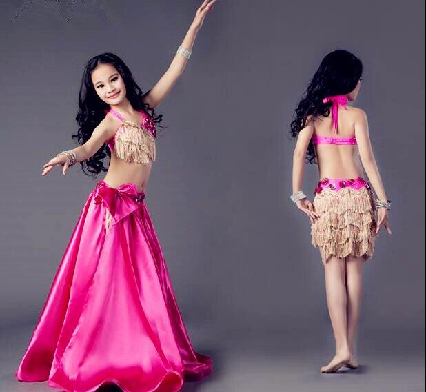 57759439b New Girls 3 Piece Set Belly Dance Costume Bra Drum Skirt Long Slit ...