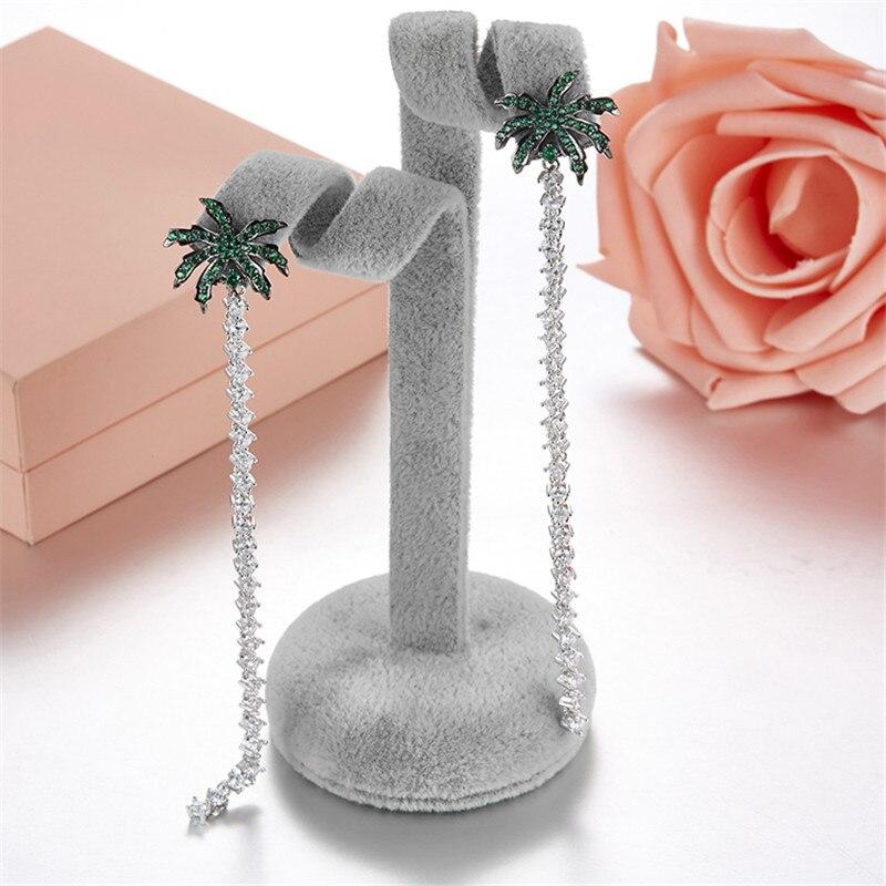 Luxury 925 Sterling Silver Coconut Palm Tree Long Crystal Tassel Chain Earrings AAA Cubic Zirconia France Monaco Women Jewelry все цены