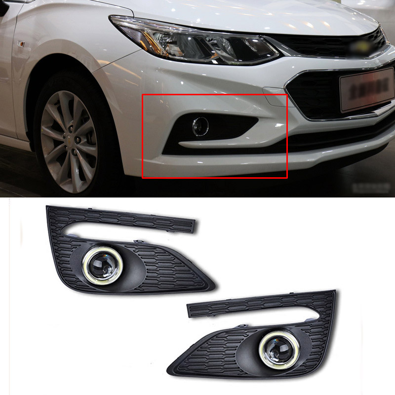 Superb COB Angel Eye Rings Projector Lens with 3000K Halogen Lamp Source Black Fog Lights Bumper Cover For Chevy Cruze 2017 hot sale 2017 korean new fashion spring women flats shoes ladies bow square toe slip on flat women s shoes plus size 35 42