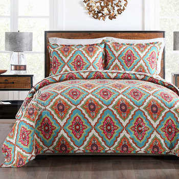 CHAUSUB New Quality Washed Cotton Printed Quilt Set 3PCS Quilted Bedspread Quilts Bed Cover Pillowcase King Size Coverlet Set