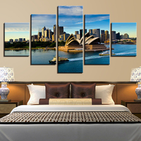 Canvas HD Prints Posters Home Wall Art Framework 5 Pieces Sydney Opera House Paintings Boat Yacht