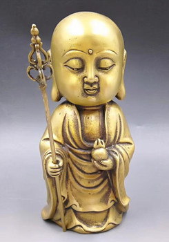 Chinese Hand Carved brass Young monk Buddha Statue