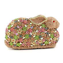 Wholesale Handmade Rabbit Shape Rhinestone Clutch Women Evening Bags Luxury Hollow Out Metal Crystal Ladies Evening Bags(China)