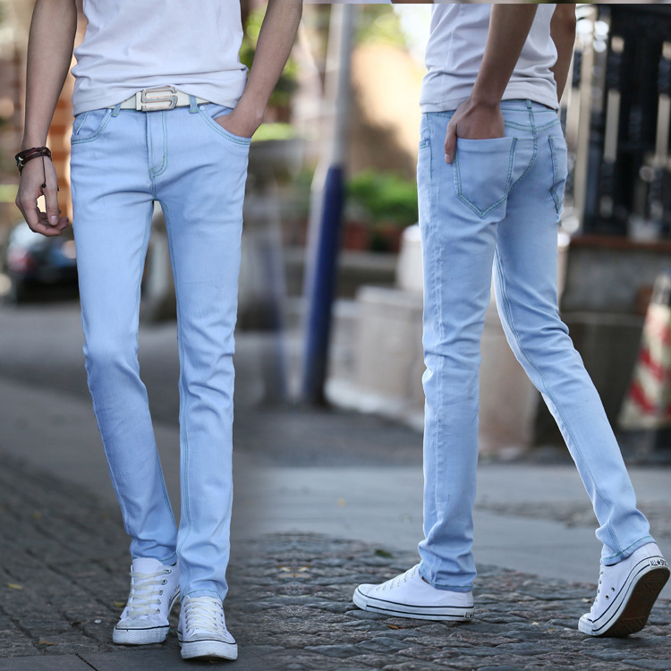 Jeans Men Spring 2019 Casual Fashion Light Blue Denim Pants Distressed Slim Fit Stretch Ripped Jeans Plus Size