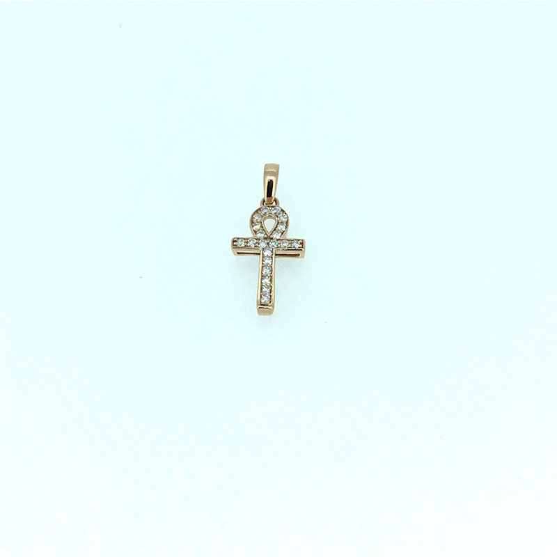 ANI 14K Rose Gold (AU750) Wedding Pendant I-J/SI Real Natural Diamond Three Color Cross Shape Women Engagement Chain Necklace 2pcs blue silicone permanent makeup eyebrow tattoo practice skin practice skin for microblading tattoo machine